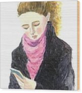 A Woman Texting W Cell Phone Wood Print