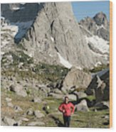 A Woman Trail Running In The Cirque Wood Print