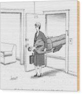 A Woman Walks Through A Door Carrying A Man Wood Print