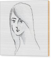 A Woman With Long Hair Wood Print