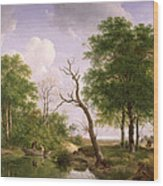 A Wooded River Landscape With Sportsmen In A Rowing Boat Wood Print