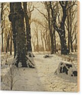 A Wooded Winter Landscape With Deer Wood Print