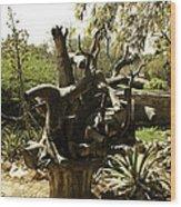 A Wooden Sculpture Inside A Garden Wood Print