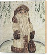 A Woodland Santa Wood Print