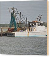 Seadrift Texas Working Boat Wood Print