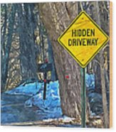 A Yellow Diamond Sign With The Words Hidden Driveway On The Side  Wood Print
