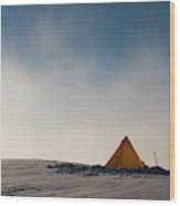 A Yellow Pyramid Tent In The Snow, Mt Wood Print