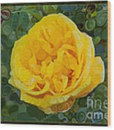 A Yellow Rose Abstract Painting Wood Print