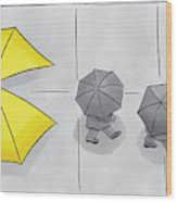 A Yellow Umbrella With A Pacman Mouth Wood Print