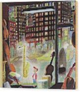 A Young Boy Admires A Saxophone Wood Print
