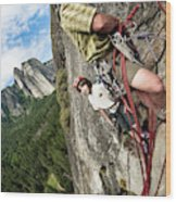 A Young Boy And Climbers In Yosemite Wood Print