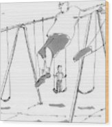 A Young Boy On A Swingset To His Father Wood Print