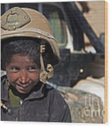 A Young Boy Wears A Coalition Force Wood Print