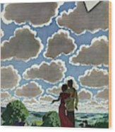 A Young Couple And Their Dogs On A Hilltop Wood Print