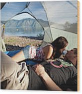 A Young Couple Camping Talk Wood Print