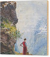 A Young Girl By A Fjord Wood Print