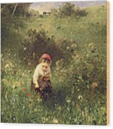 A Young Girl In A Field Wood Print
