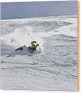 A Young Man Falls While Skiing Wood Print