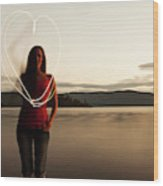A Young Woman Drawing A Heart At Sunset Wood Print