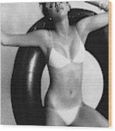 Debbie Dickinson Floating On An Inner Tube Wood Print