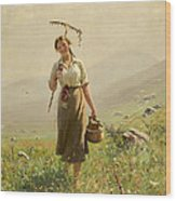 A Young Woman In The Meadow Wood Print