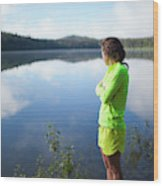 A Young Woman Looks Out Over Unna Lake Wood Print