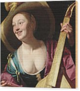 A Young Woman Playing A Viola Da Gamba Wood Print