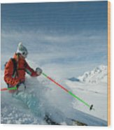 A Young Woman Skis The Backcountry Wood Print