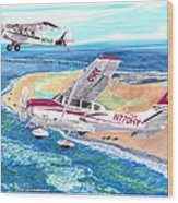 Cessna 206 And A1a Husky Wood Print