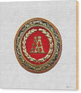 Aa Initials - Gold Antique Monogram On White Leather Wood Print