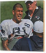 Aaron Hernandez With Patriots Coaches Wood Print