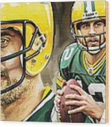 Aaron Rodgers Green Bay Packers Quarterback Artwork Wood Print