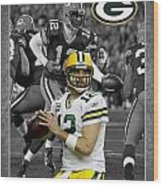 Aaron Rodgers Packers Wood Print
