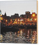 Aarti At Dashashwamedh Ghat 2 Wood Print