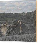 Abandon Stone House And Steeple  Wood Print