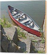 Abandoned Boat At The Quay Wood Print