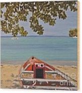 Abandoned Boat Seascape Wood Print