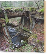 Abandoned Boston And Maine Railroad Timber Bridge - New Hampshire Usa Wood Print by Erin Paul Donovan