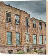 Abandoned Brick Building Wood Print