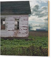 Abandoned Building In A Storm Wood Print