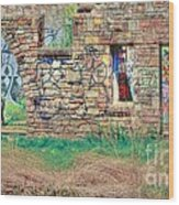 Abandoned Building Wood Print