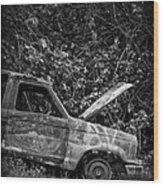 Abandoned Car Road To Hana Maui Wood Print