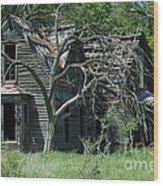 Abandoned Country Kansas Farm House Wood Print
