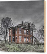 Abandoned Farmhouse Before The Storm Wood Print