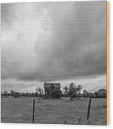 Abandoned Farmhouse Black And White Wood Print