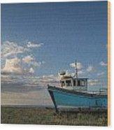 Abandoned Fishing Boat Digital Painting Wood Print