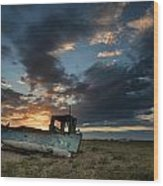 Abandoned Fishing Boat Sunset Landscape Digital Painting Wood Print by Matthew Gibson