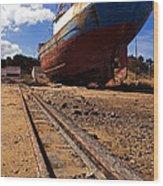 Abandoned Fishing Ship Wood Print