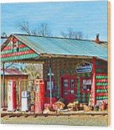 Abandoned Gas Station Wood Print
