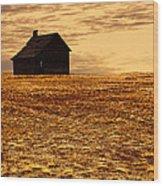 Abandoned Homestead Series Golden Sunset Wood Print